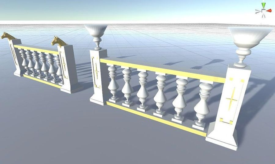 Architectural Balustrade - Palace Decor Baroque royalty-free 3d model - Preview no. 4