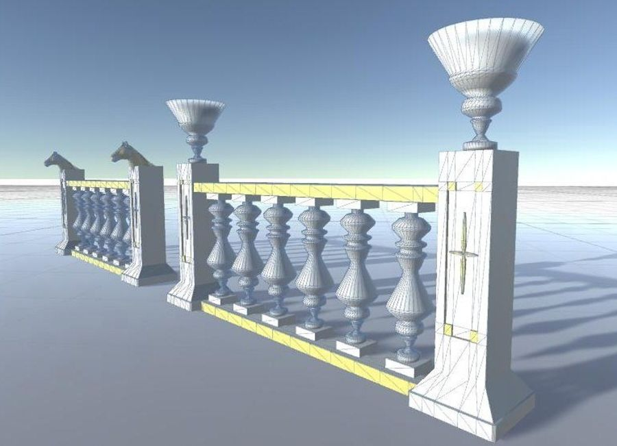 Architectural Balustrade - Palace Decor Baroque royalty-free 3d model - Preview no. 5