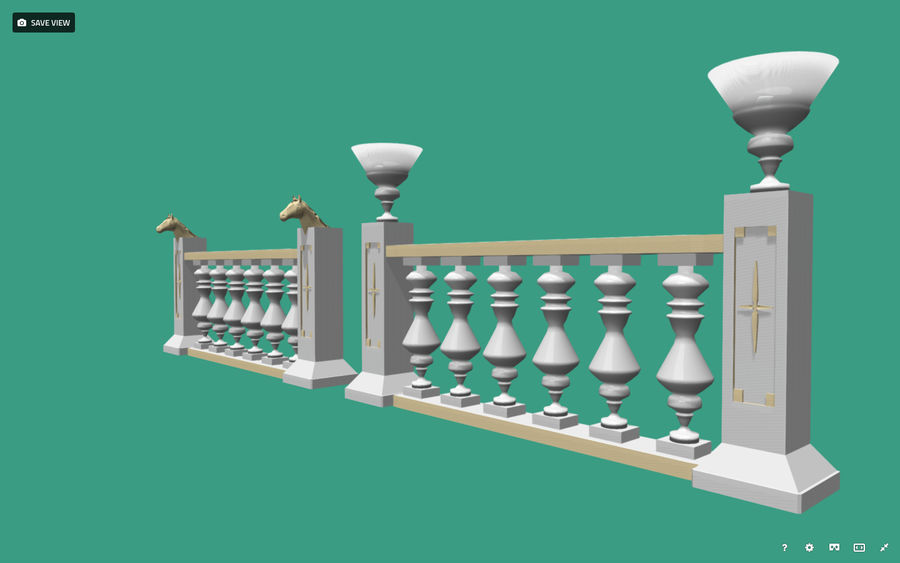 Architectural Balustrade - Palace Decor Baroque royalty-free 3d model - Preview no. 1