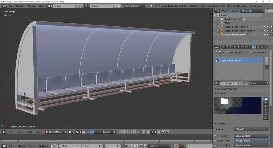 Soccer Reserve Bench royalty-free 3d model - Preview no. 10
