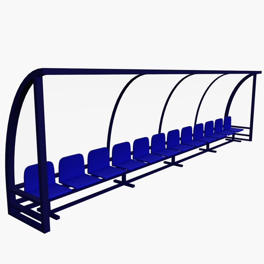 Soccer Reserve Bench royalty-free 3d model - Preview no. 2