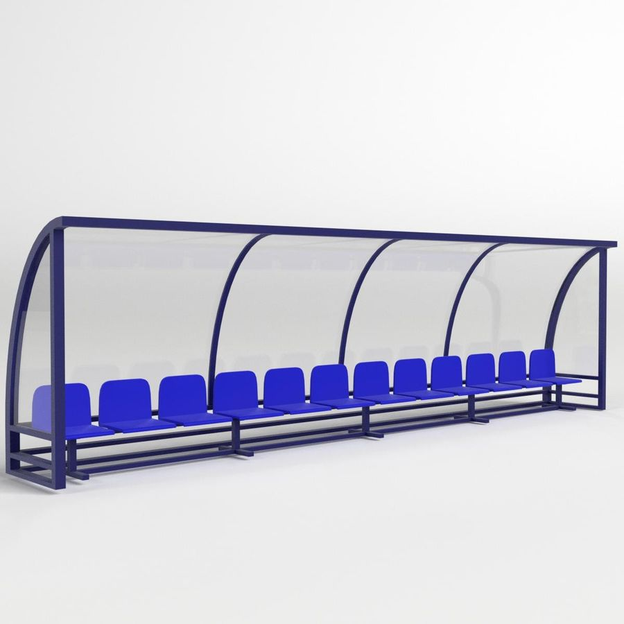 Soccer Reserve Bench royalty-free 3d model - Preview no. 1