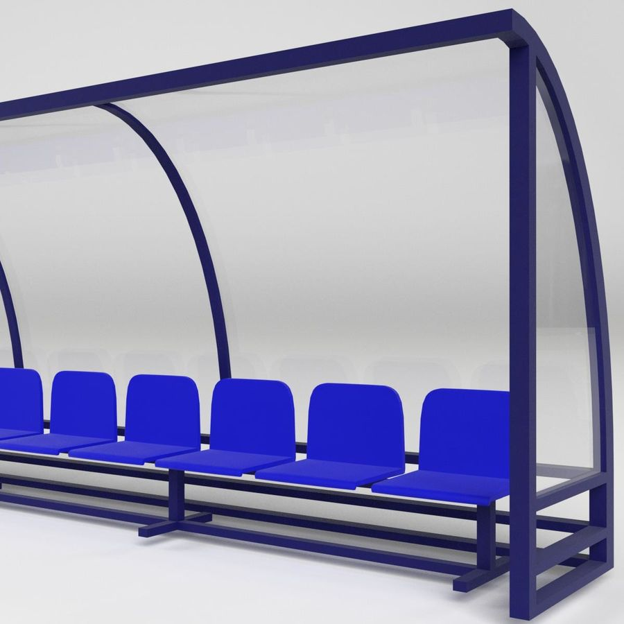 Soccer Reserve Bench royalty-free 3d model - Preview no. 3
