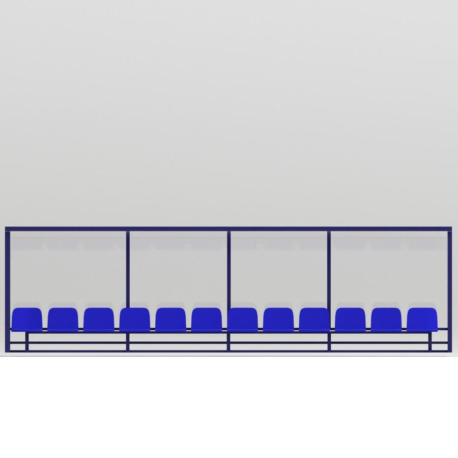 Soccer Reserve Bench royalty-free 3d model - Preview no. 4