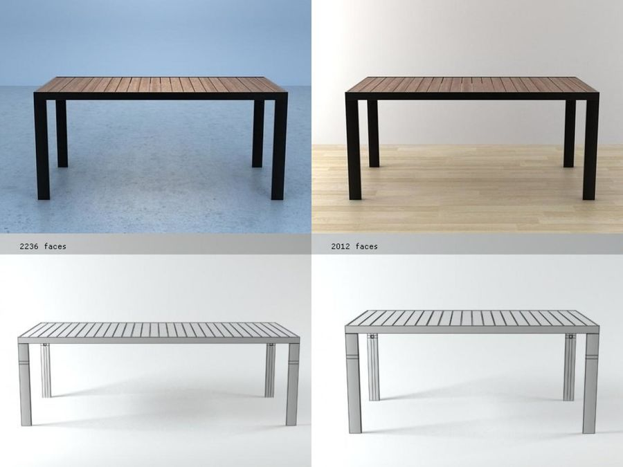 Garden Dinner table royalty-free 3d model - Preview no. 2