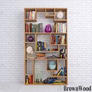 Books shelves and decor set 3d model