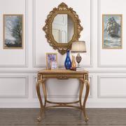 Conjunto decor_Antique francês mesa de ônix e espelho de ouro antigo e lâmpada 3d model