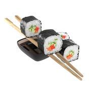 Gurken-Lachs-Sushi-Rollen 3d model