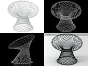 화이트 망사 의자 3d model
