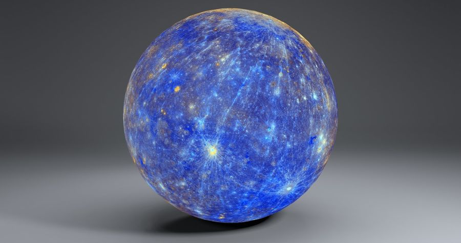 Mercury 11k Globe royalty-free 3d model - Preview no. 4