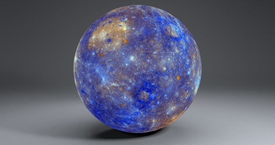 Mercury 11k Globe royalty-free 3d model - Preview no. 10