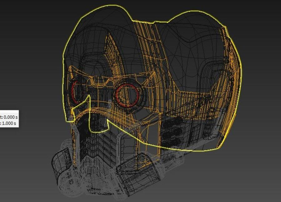 star lord mask royalty-free 3d model - Preview no. 4