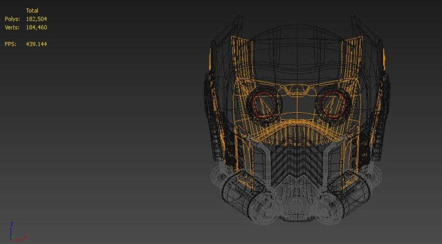 star lord mask royalty-free 3d model - Preview no. 3