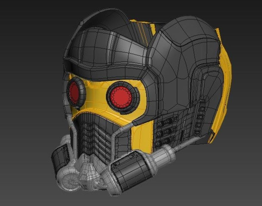 star lord mask royalty-free 3d model - Preview no. 2