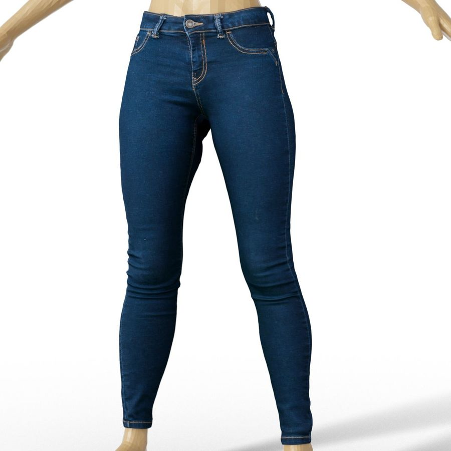 Pantalones Vaqueros Azul Oscuro Ropa Moda Mujer Modelo 3d 20 Obj Free3d