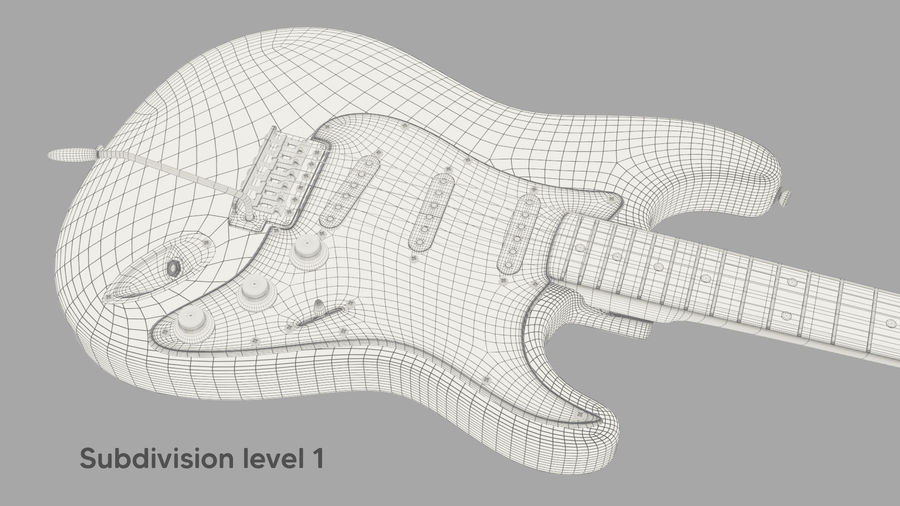 Fender Stratocaster Electric Guitar royalty-free 3d model - Preview no. 12