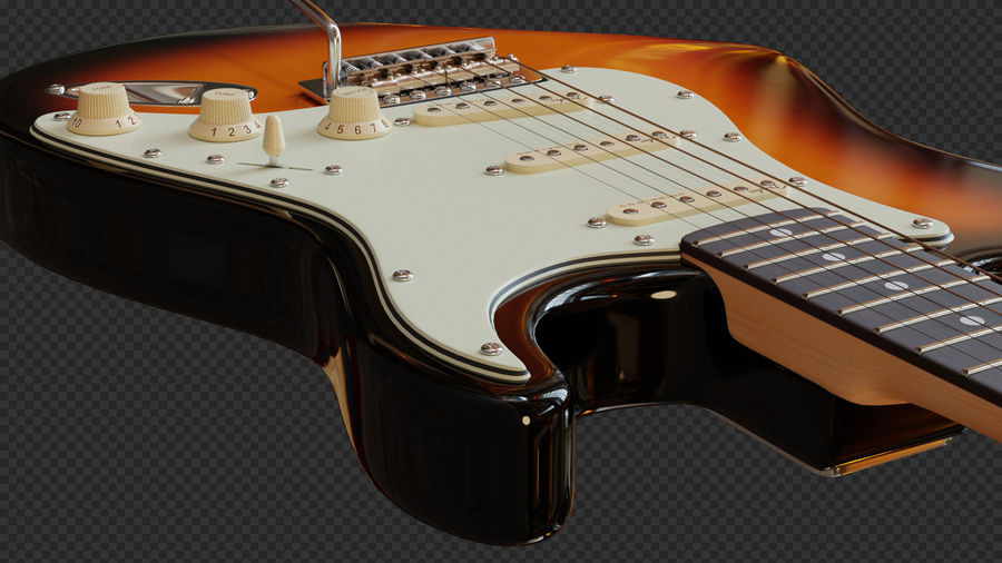 Fender Stratocaster Electric Guitar royalty-free 3d model - Preview no. 8