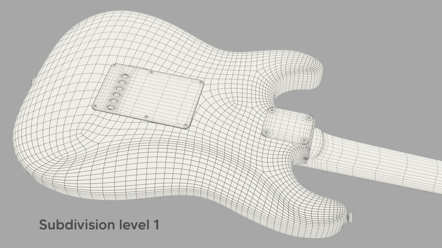 Fender Stratocaster Electric Guitar royalty-free 3d model - Preview no. 14