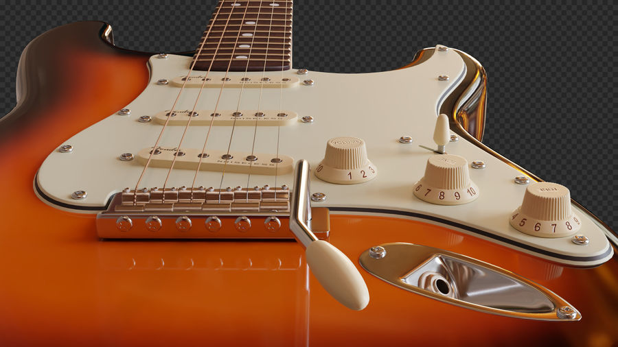 Fender Stratocaster Electric Guitar royalty-free 3d model - Preview no. 5