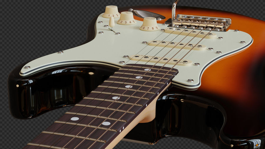 Fender Stratocaster Electric Guitar royalty-free 3d model - Preview no. 7