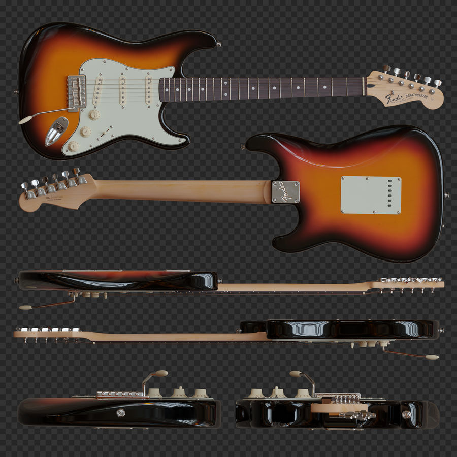 Fender Stratocaster Electric Guitar royalty-free 3d model - Preview no. 2