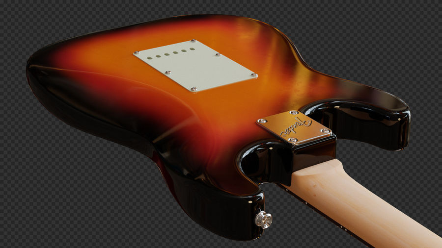 Fender Stratocaster Electric Guitar royalty-free 3d model - Preview no. 4