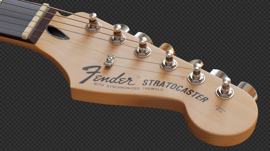 Fender Stratocaster Electric Guitar royalty-free 3d model - Preview no. 9
