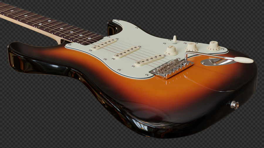 Fender Stratocaster Electric Guitar royalty-free 3d model - Preview no. 3