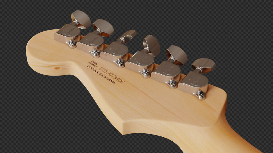 Fender Stratocaster Electric Guitar royalty-free 3d model - Preview no. 10