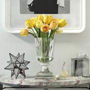 Decorazioni con tulipani gialli 3d model