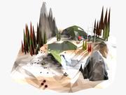 Cartone animato paesaggio poli basso 3d model