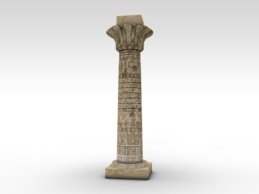 Ancient Egyptian pillar royalty-free 3d model - Preview no. 5