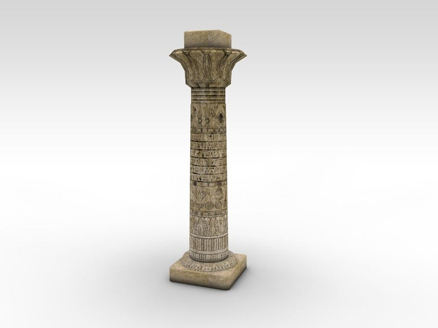 Ancient Egyptian pillar royalty-free 3d model - Preview no. 2