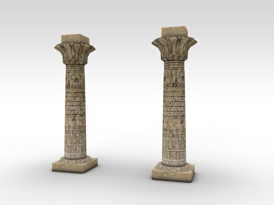 Ancient Egyptian pillar royalty-free 3d model - Preview no. 8