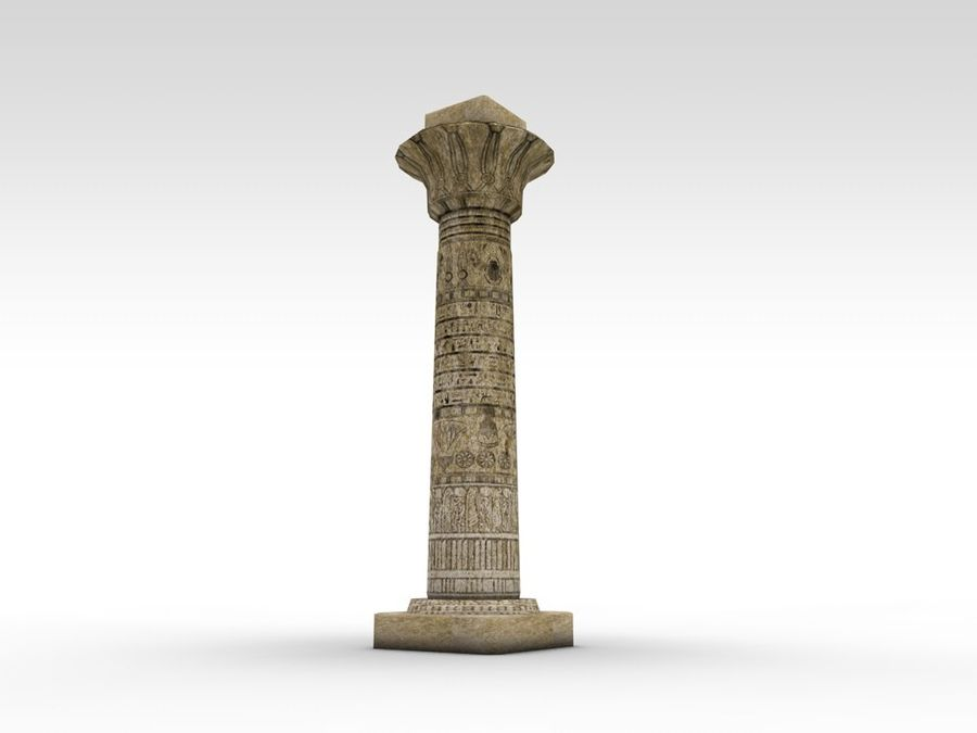Ancient Egyptian pillar royalty-free 3d model - Preview no. 3