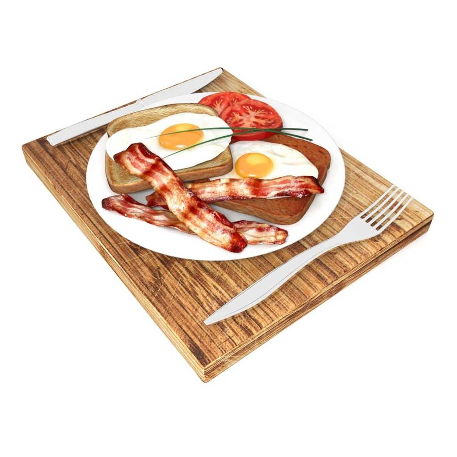 Bacon and egg breakfast royalty-free 3d model - Preview no. 6