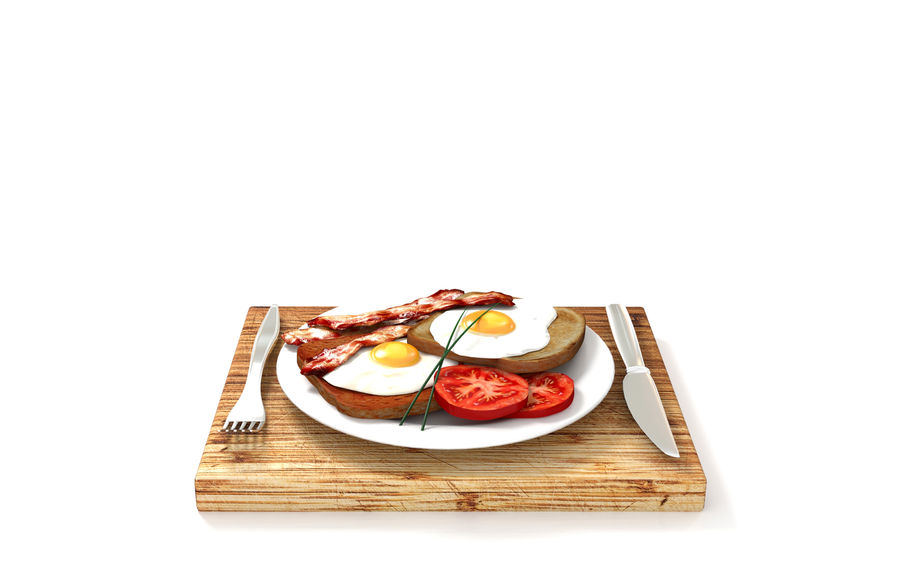 Bacon and egg breakfast royalty-free 3d model - Preview no. 5