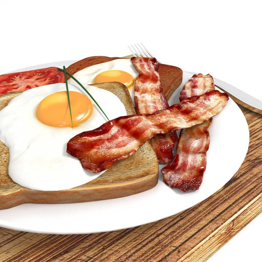 Bacon and egg breakfast royalty-free 3d model - Preview no. 1