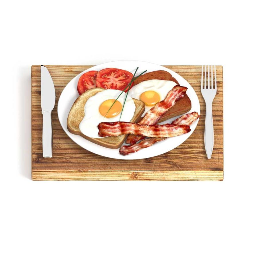 Bacon and egg breakfast royalty-free 3d model - Preview no. 2