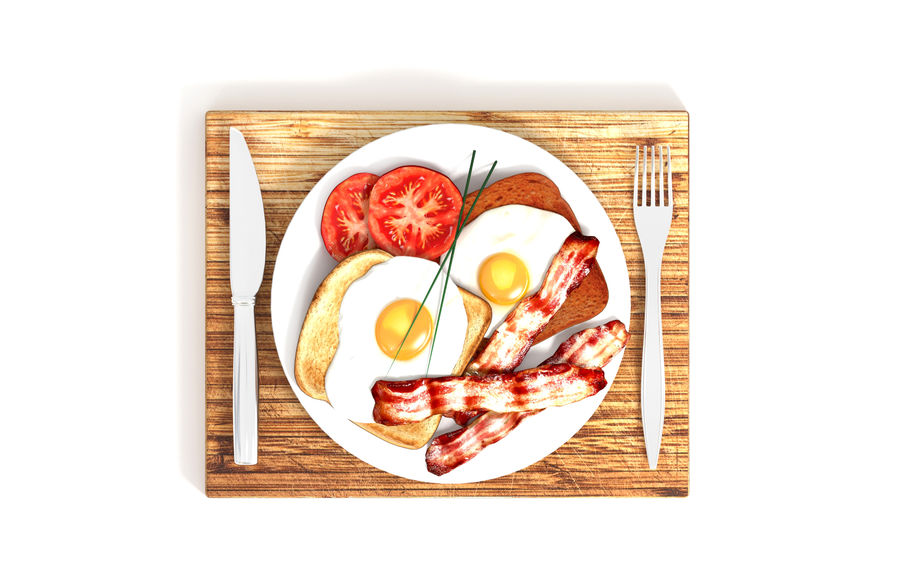 Bacon and egg breakfast royalty-free 3d model - Preview no. 3