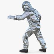 Brandman bär brandbekämpningsdräkt aluminiumfolie 3d model