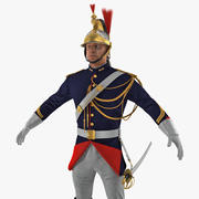 Franska republikanska vakten i traditionell uniform med päls 3D-modell 3d model