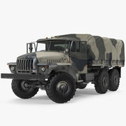 Military Truck URAL 4320 Russian Rigged 3d model