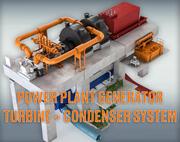 Gerador de turbina de usina elétrica + condensador 3d model