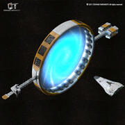 Звездные врата с научно-фантастическим шаттлом 3d model