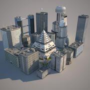 sci-fi block city 3d model