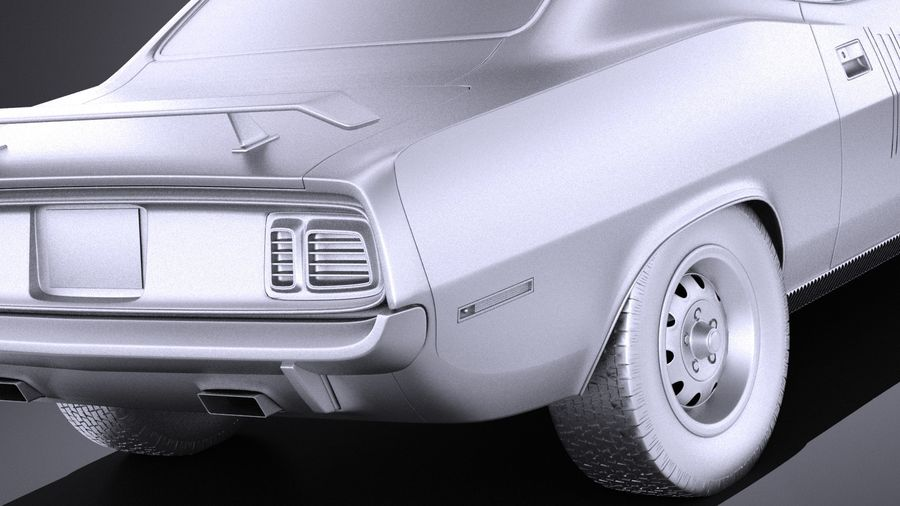 Plymouth Hemi Cuda - Barracuda 1971 VRAY royalty-free 3d model - Preview no. 11