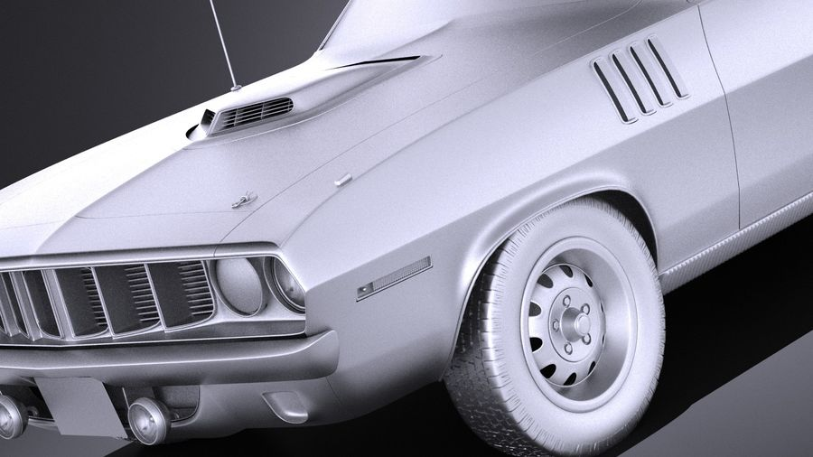 Plymouth Hemi Cuda - Barracuda 1971 VRAY royalty-free 3d model - Preview no. 10