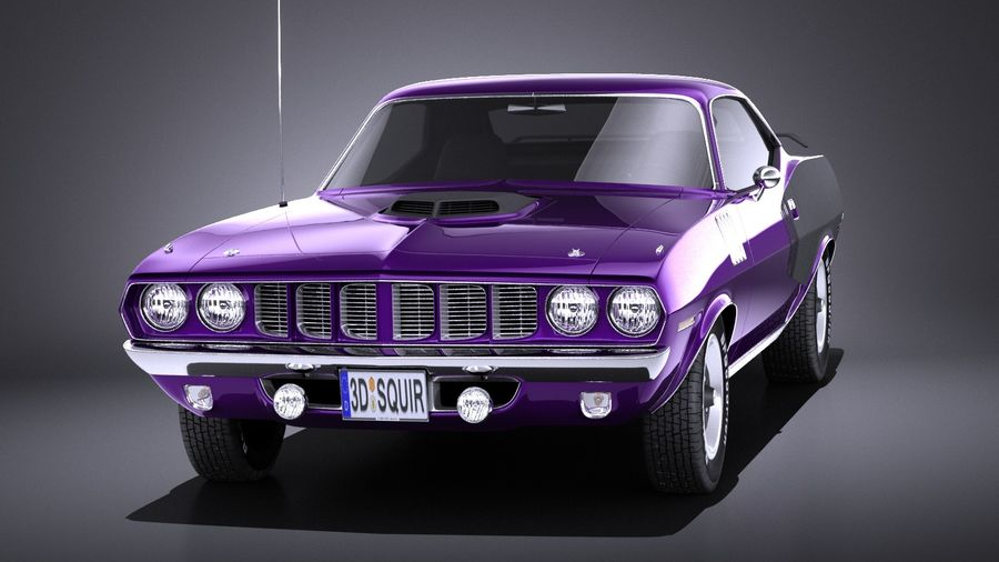 Plymouth Hemi Cuda - Barracuda 1971 VRAY royalty-free 3d model - Preview no. 2