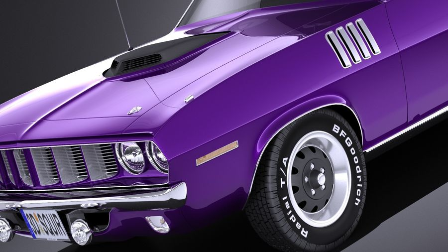 Plymouth Hemi Cuda - Barracuda 1971 VRAY royalty-free 3d model - Preview no. 3